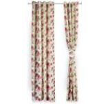 Set doua draperii Heinner HR-DR140-FLWPK, 140 x 270 cm, Bumbac, model Flori Roz (Multicolora)