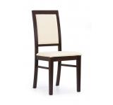 Scaun din lemn tapitat cu piele ecologica Sylwek 1 nuc-crem