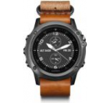Ceas activity outdoor tracker Garmin Fenix 3 Sapphire, Bratara din piele (Gri)
