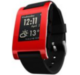 Smartwatch Pebble 301, LED Backlight E-Paper 1.26inch, Bluetooth, Bratara silicon, Rezistent la apa si praf (Rosu)