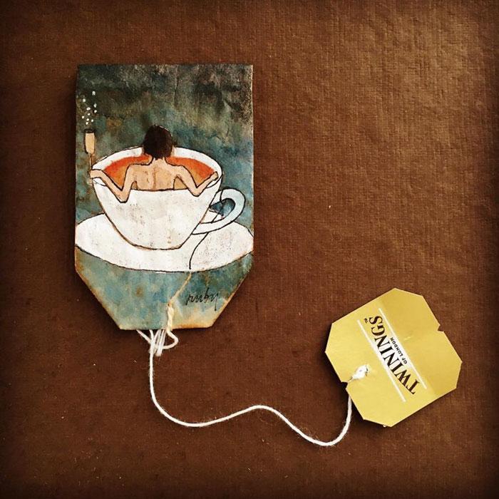 Pictura pe saculeti de ceai, de Ruby Silvious - Poza 4