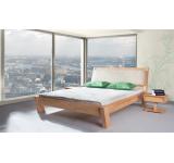 Pat din lemn masiv de fag Relax clear cu tablia tapitata