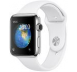 Smartwatch Apple Watch 2 Sport, Retina OLED Capacitive touchscreen 1.65inch, Bluetooth, Wi-Fi, Bratara Silicon 42mm, Carcasa Aluminiu, Rezistent la apa si praf (Argintiu/Alb)