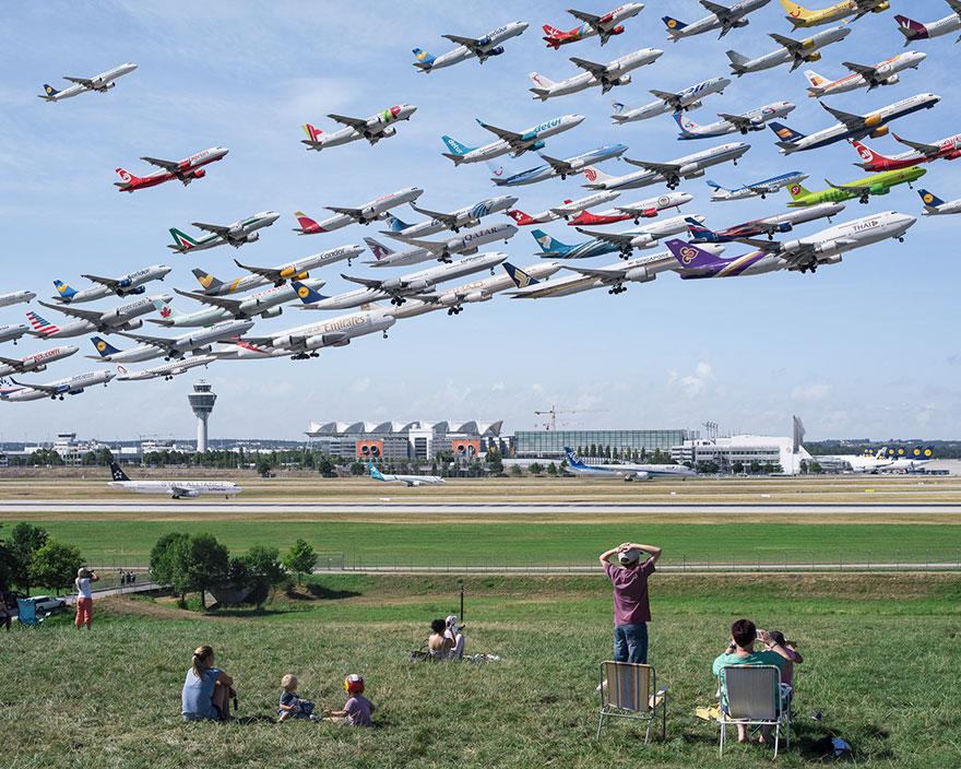 Portrete aeriene: Uimitorul zbor simultan al unor zeci de avioane - Poza 15