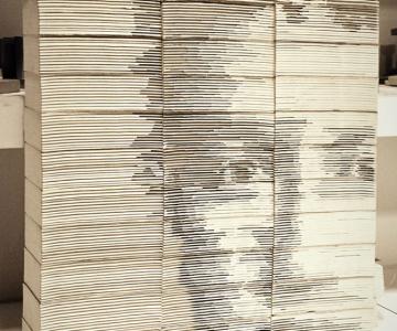Chipul din carti: Portretul lui Mark Zuckerbeg sculptat in carti