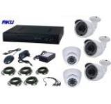 Kit Supraveghere Video AKU Ak9029, 5 camere interior/exterior 1200 TVL + DVR 8 canale, LAN, Compresie H264 + Cablu
