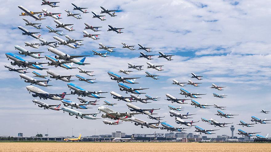 Portrete aeriene: Uimitorul zbor simultan al unor zeci de avioane - Poza 12