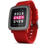 Smartwatch Pebble Time, Color E-paper LED backlight, Bratara silicon, Rezistent la apa si praf (Rosu)