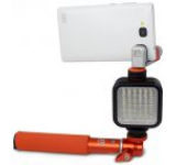 Selfie stick XGEM Xsories Xshine Deluxe Combo cu suport de telefon, lampa LED (Portocaliu)
