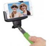 Selfie stick KitVision BTSSPHGN cu suport de telefon, conectare prin Bluetooth, declansator pe maner (Verde)