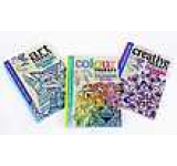 Adult colouring anti stress art colour and creative therapy 3 books paperback collection