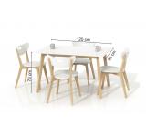 Masa din lemn si MDF Lorrita White, L120xl80xh73 cm