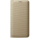 Husa Flip Wallet Samsung pentru Galaxy S6 Edge G925, Textil (Aurie)