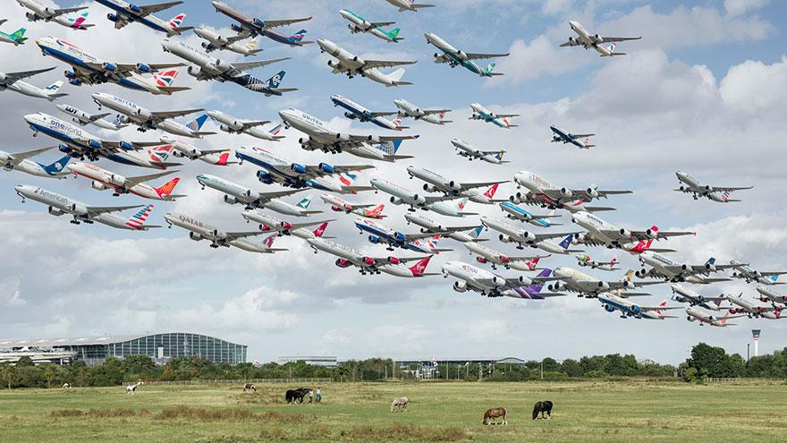 Portrete aeriene: Uimitorul zbor simultan al unor zeci de avioane - Poza 8