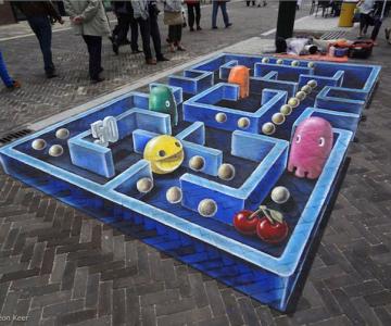 Pacman 3D pe asfalt, de Leon Keer