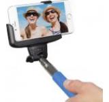 Selfie stick KitVision BTSSPHBL cu suport de telefon, conectare prin Bluetooth, declansator pe maner (Albastru)