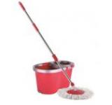 Mop rotativ Kring Special, galeata cu centrifuga inox si 2 rezerve mop (Rosie)