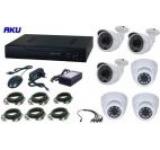 Kit supraveghere video AKU 6 camere interior/exterior, 1200 TVL, DVR 8 canale, Compresie H264 + cablu