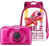 Aparat Foto Digital NIKON Coolpix W100, 13.2MP, Zoom Optic 3x, Wi-Fi (Roz) + Rucsac