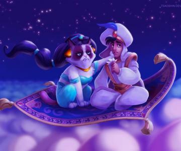 Grumpy Cat alaturi de personajele Disney