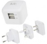 Incarcator retea Kit USBMC3INTWH, cu adaptor universal UK, EU, US, 2 USB, 3.4A (Alb)