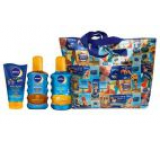 Set pentru protectie solara Nivea Sun Family Pack: Lotiune de corp Kids Swim&Play SPF 50+, 150 ml + Ulei spray Protect & Bronze SPF30, 200 ml + Spray Protect & Refresh SPF20, 200 ml + Geanta de plaja