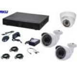 Kit supraveghere video AKU 3 camere interior/exterior 1200 TVL + DVR 4 canale LAN H264 + Cablu