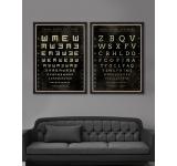 Tablou 2 piese Framed Art Visual Acuity Eye Chart I&II