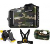 Aparat Foto Digital NIKON COOLPIX AW130 Outdoor Kit (Camouflage), Filmare Full HD, 16MP, Zoom Optic 5x, GPS, Wi-Fi, NFC, Rezistent la apa, socuri, praf si frig