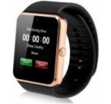 Smartwatch iUni GT08s Plus, Capacitive touchscreen 1.54inch, Procesor Dual-Core 1.2GHz, 128MB RAM, Bluetooth, Bratara silicon, Camera foto, Functie telefon (Negru/Auriu)