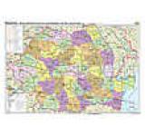 Romania. Harta administrativa si a principalelor cai de comunicatie