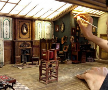 Miniatura unui studio fotografic din 1900