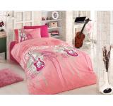 Lenjerie de pat copii Ranforce Pink Guitar V1