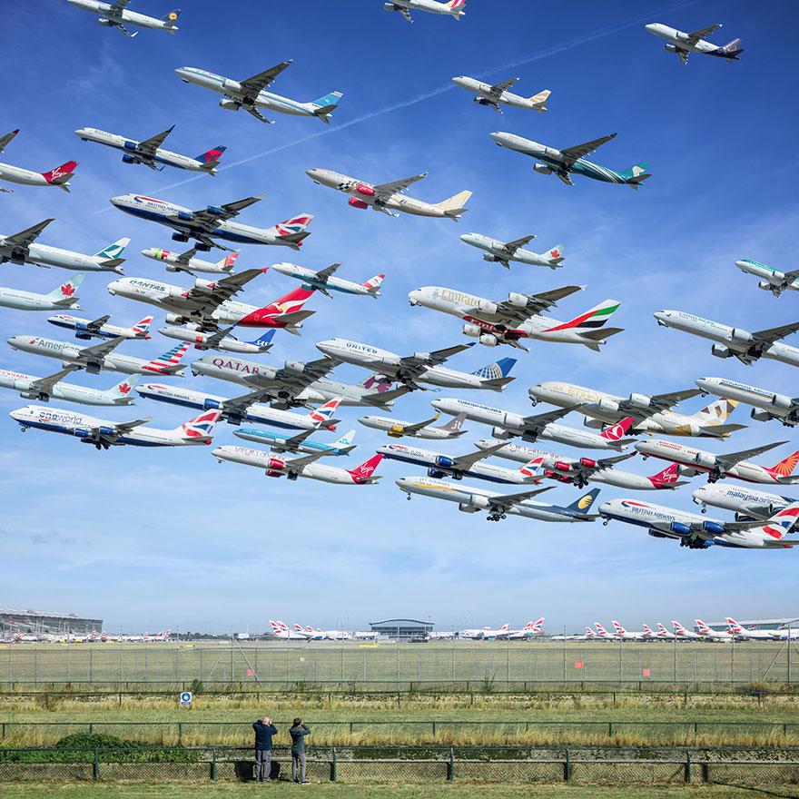 Portrete aeriene: Uimitorul zbor simultan al unor zeci de avioane - Poza 17