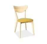 Scaun din lemn masiv tapitat cu stofa galbena CD-37
