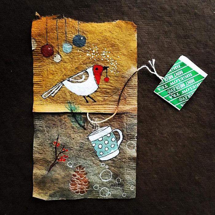 Pictura pe saculeti de ceai, de Ruby Silvious - Poza 6