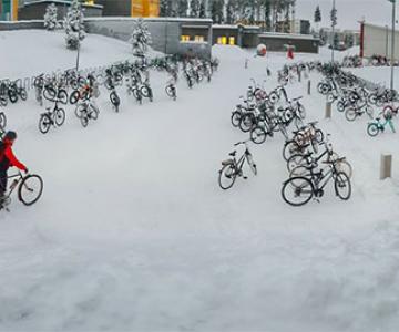 Cu bicicleta, la -17 grade Celsius