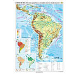 America de Sud. Harta fizico-geografica si a principalelor resurse naturale de subsol