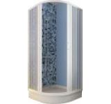 Cabina de dus Giove 80 AC semirotunda, deschidere centrala, 185 cm, 80 cm, 2 usi pliabile pana la perete
