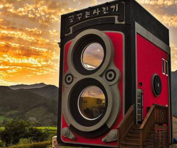 Cafeneaua in forma de aparat foto, din Coreea de Sud