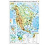 America de Nord. Harta fizico-geografica si a principalelor resurse naturale de subsol