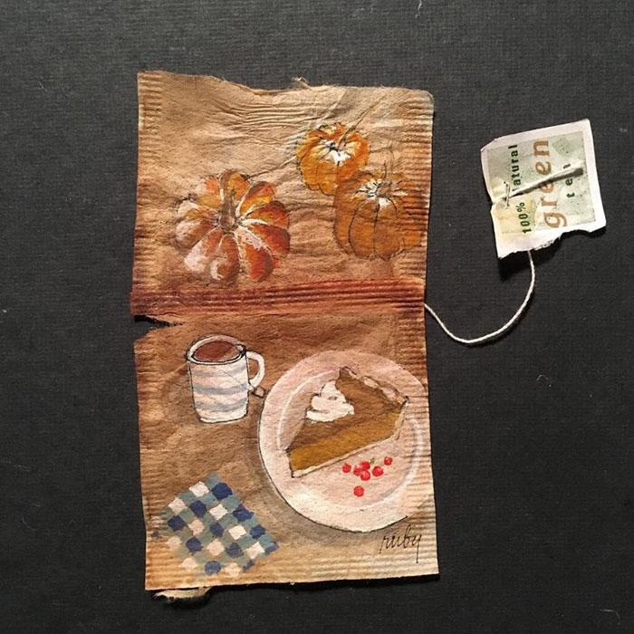 Pictura pe saculeti de ceai, de Ruby Silvious - Poza 15