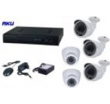Kit Supraveghere Video AKU Ak9517F, 5 camere interior/exterior 1MP, DVR 4 canale, Compresie H264, AHD