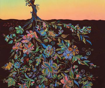 Copaci pictati cu coroanele sub pamant