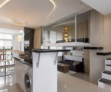 Apartament mic, cochet, alb-negru