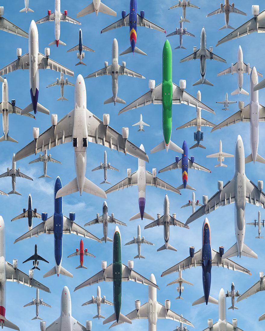 Portrete aeriene: Uimitorul zbor simultan al unor zeci de avioane - Poza 1