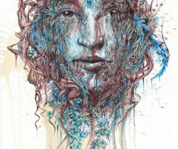 Arta abstracta cu ceai, alcool si acuarele