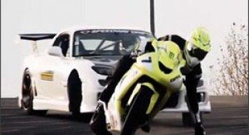 Motocicleta vs masina: Derapaje controlate