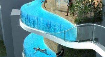 Turnul cu piscine in balcon
