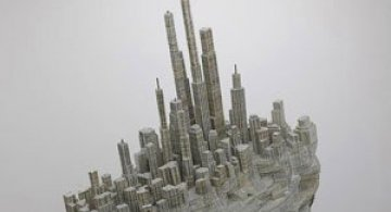 Un oras sculptat in carti de Liu Wei